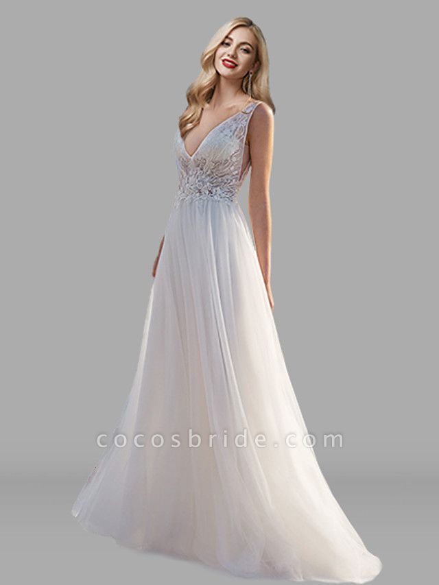 A-Line Wedding Dresses V Neck Floor Length Lace Tulle Sleeveless Beach Sexy See-Through Backless