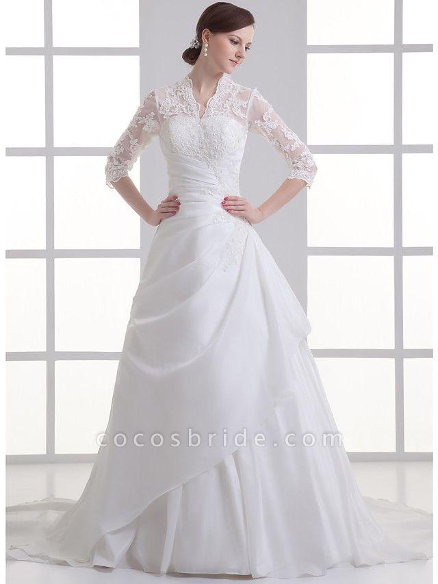 A-Line V Neck Chapel Train Lace Satin Taffeta 3\4 Length Sleeve Illusion Sleeve Wedding Dresses