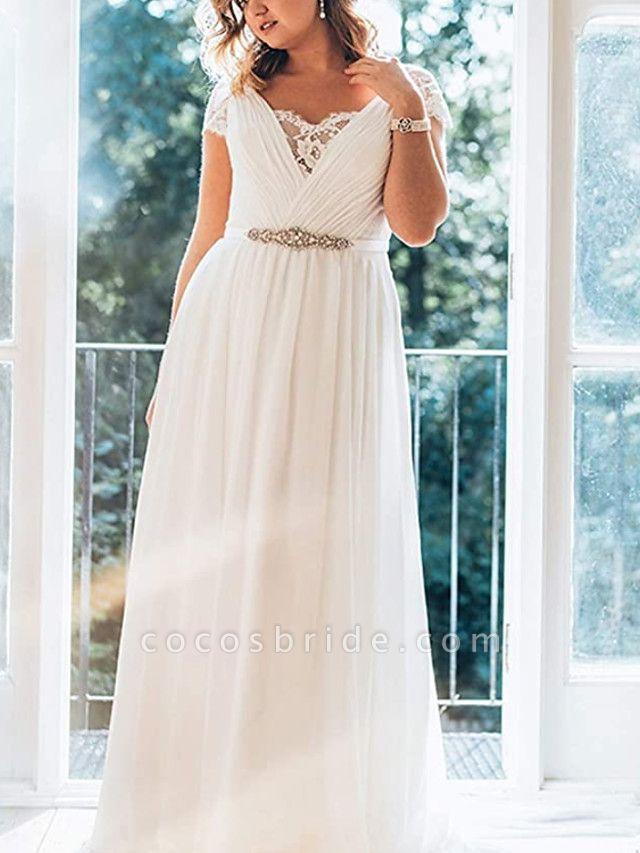 A-Line Wedding Dresses V Neck Sweep \ Brush Train Chiffon Lace Short Sleeve Simple Plus Size