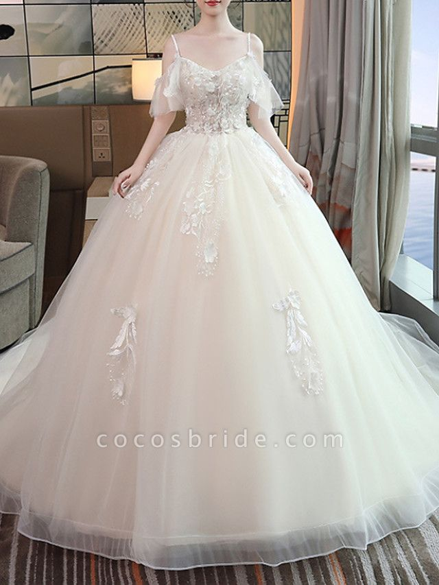 A-Line Wedding Dresses V Neck Floor Length Lace Tulle Sleeveless Casual Beach Plus Size