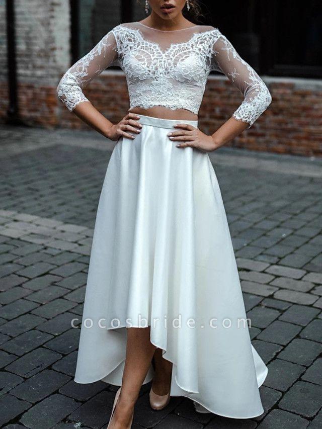 Two Piece A-Line Wedding Dresses Jewel Neck Asymmetrical Lace Satin 3\4 Length Sleeve Beach Boho Sexy See-Through