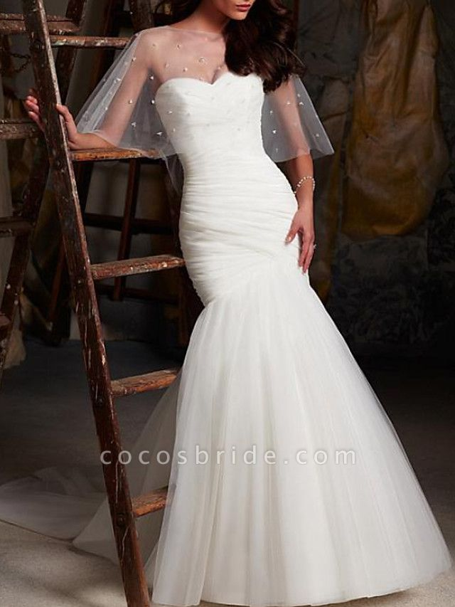 Mermaid \ Trumpet Wedding Dresses Strapless Sweep \ Brush Train Tulle Sleeveless Sexy Cape