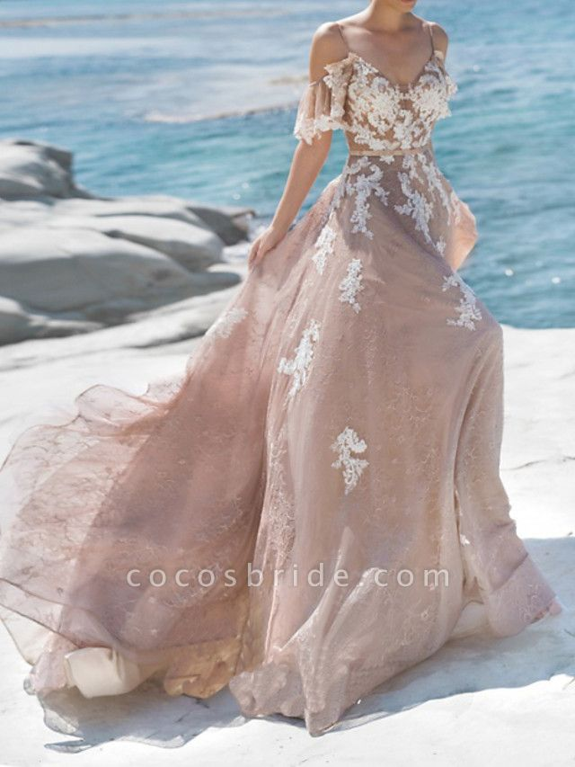 A-Line Spaghetti Strap Sweep \ Brush Train Lace Tulle Short Sleeve Beach Sexy Wedding Dress in Color Wedding Dresses