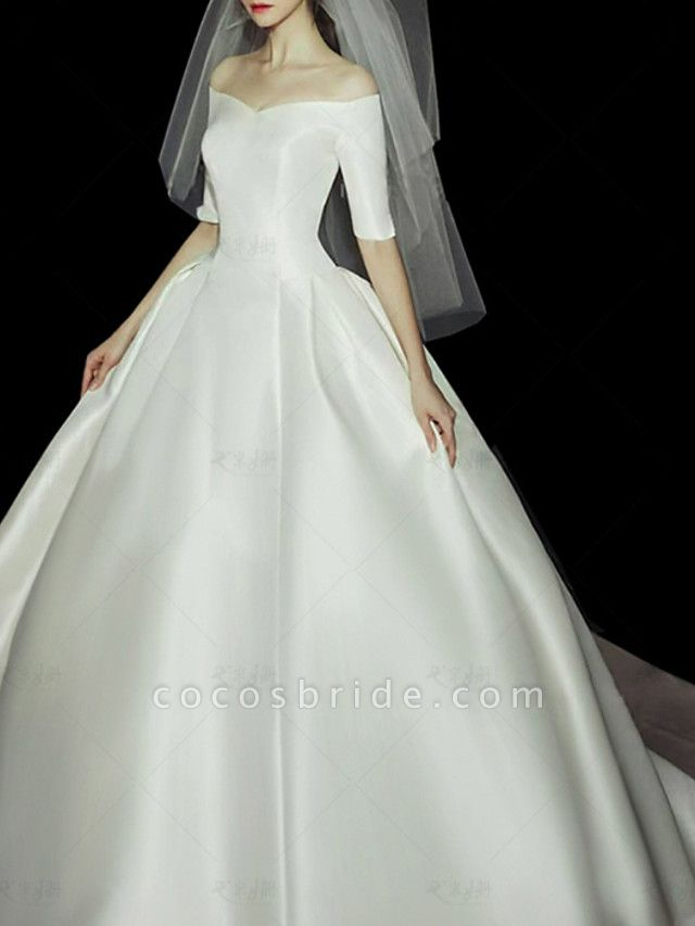 Ball Gown Wedding Dresses Off Shoulder Sweep \ Brush Train Lace Tulle Half Sleeve Vintage Plus Size Elegant