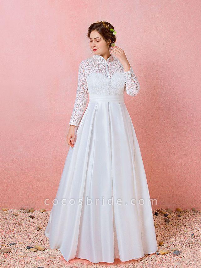 A-Line Wedding Dresses High Neck Floor Length Lace Satin Long Sleeve Formal Simple Plus Size