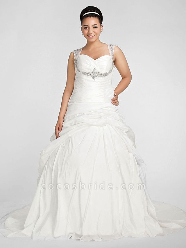 Ball Gown Sweetheart Neckline Chapel Train Taffeta Sleeveless Sparkle & Shine Wedding Dresses