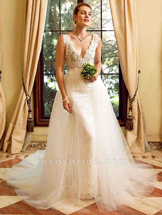 Sheath \ Column V Neck Chapel Train Lace Tulle Regular Straps See-Through Wedding Dresses