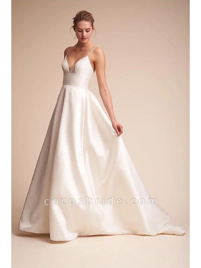A-Line Wedding Dresses V Neck Court Train Satin Spaghetti Strap Little White Dress Open Back Sexy