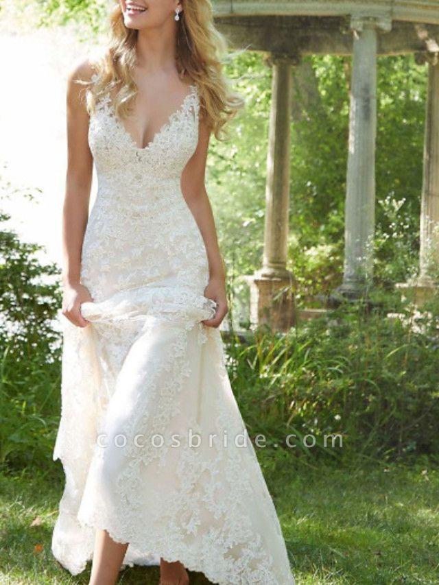 A-Line V Neck Watteau Train Lace Sleeveless Sexy Backless Wedding Dresses