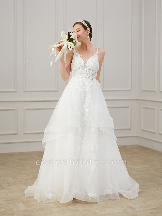 A-Line Wedding Dresses V Neck Sweep \ Brush Train Chiffon Lace Tulle Sleeveless Formal Plus Size