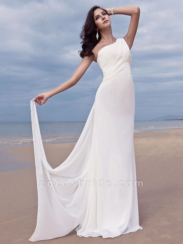 Sheath \ Column Wedding Dresses One Shoulder Sweep \ Brush Train Chiffon Regular Straps Simple Plus Size