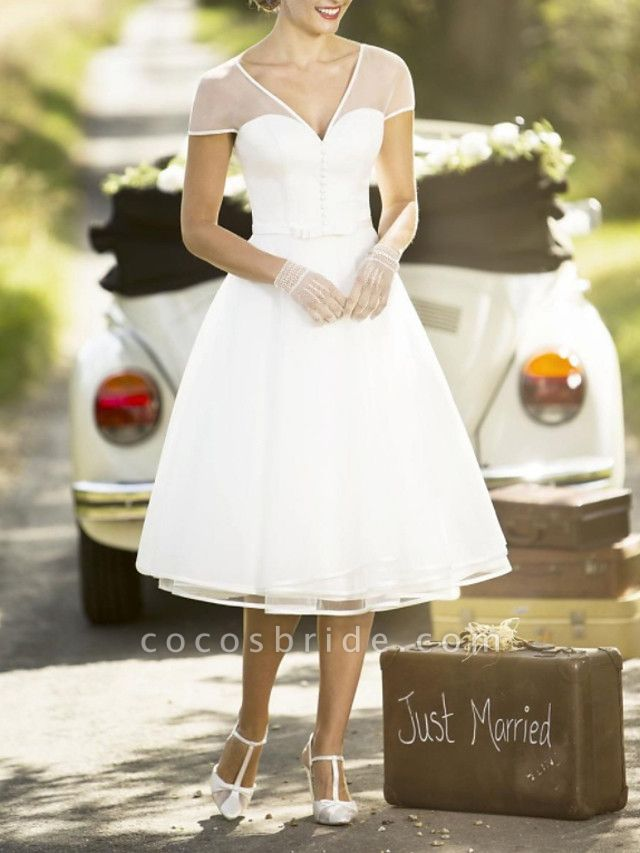 A-Line Wedding Dresses V Neck Tea Length Chiffon Short Sleeve Vintage Sexy Wedding Dress in Color See-Through