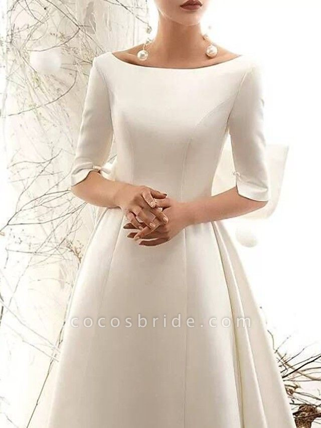 A-Line Bateau Neck Court Train Polyester Half Sleeve Vintage Sexy Wedding Dresses