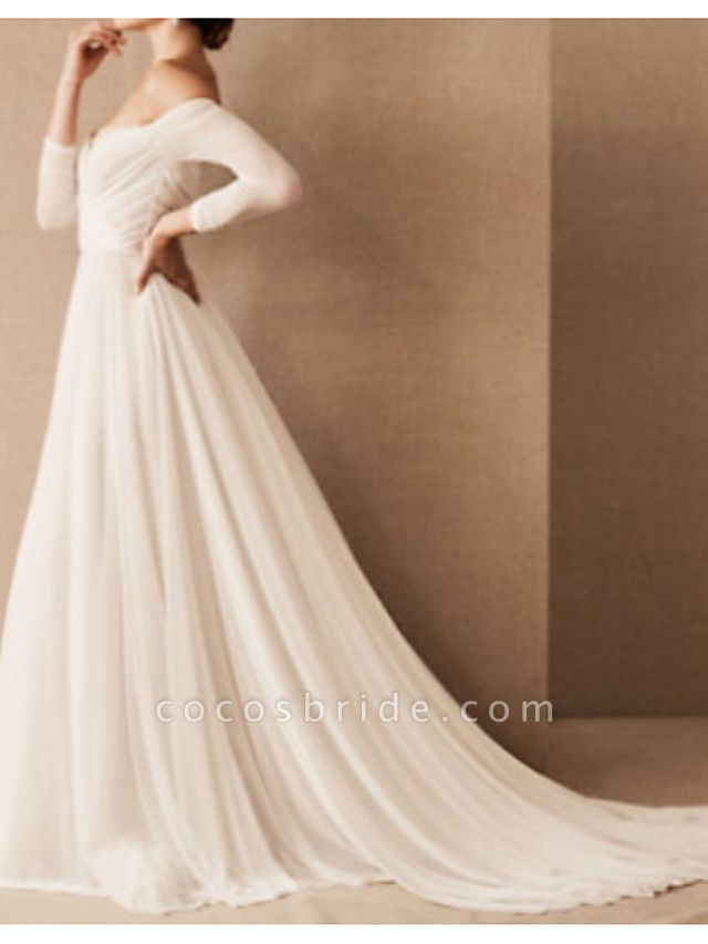 A-Line Wedding Dresses Off Shoulder Sweep \ Brush Train Chiffon 3\4 Length Sleeve Formal Plus Size