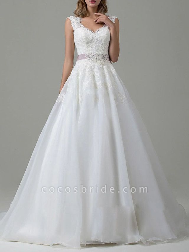 A-Line Wedding Dresses V Neck Sweep \ Brush Train Tulle Regular Straps Vintage Backless