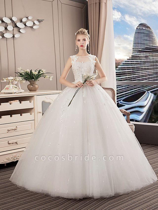 A-Line Wedding Dresses Jewel Neck Floor Length Lace Tulle Polyester Regular Straps Formal Sexy See-Through Illusion Detail