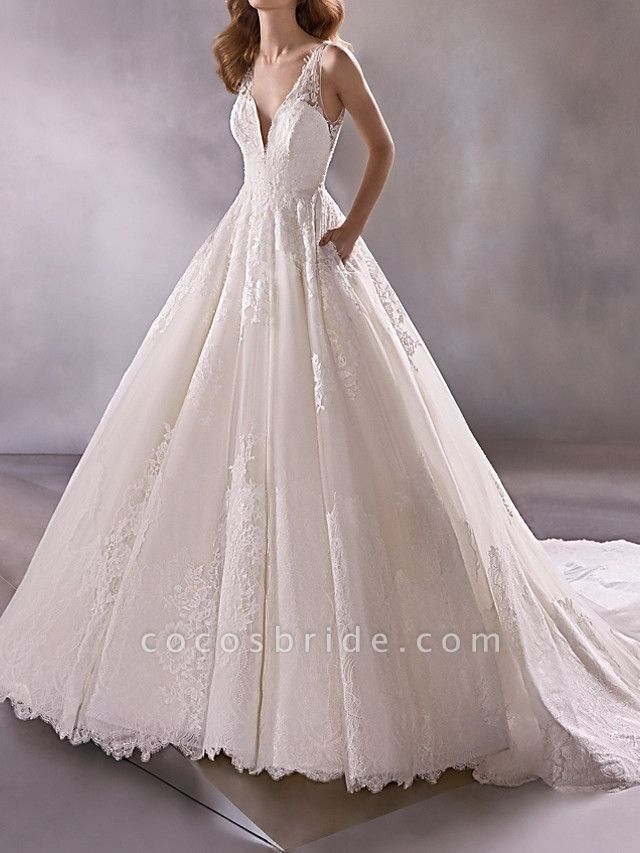 A-Line Plunging Neck Court Train Lace Tulle Sleeveless Country Plus Size Wedding Dresses