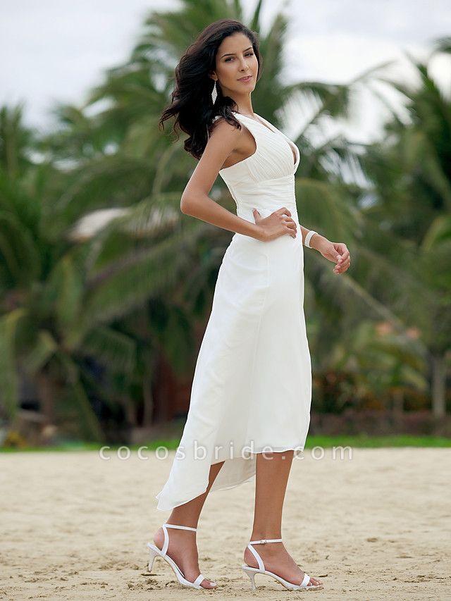 A-Line Wedding Dresses V Neck Asymmetrical Chiffon Spaghetti Strap Formal Casual Backless