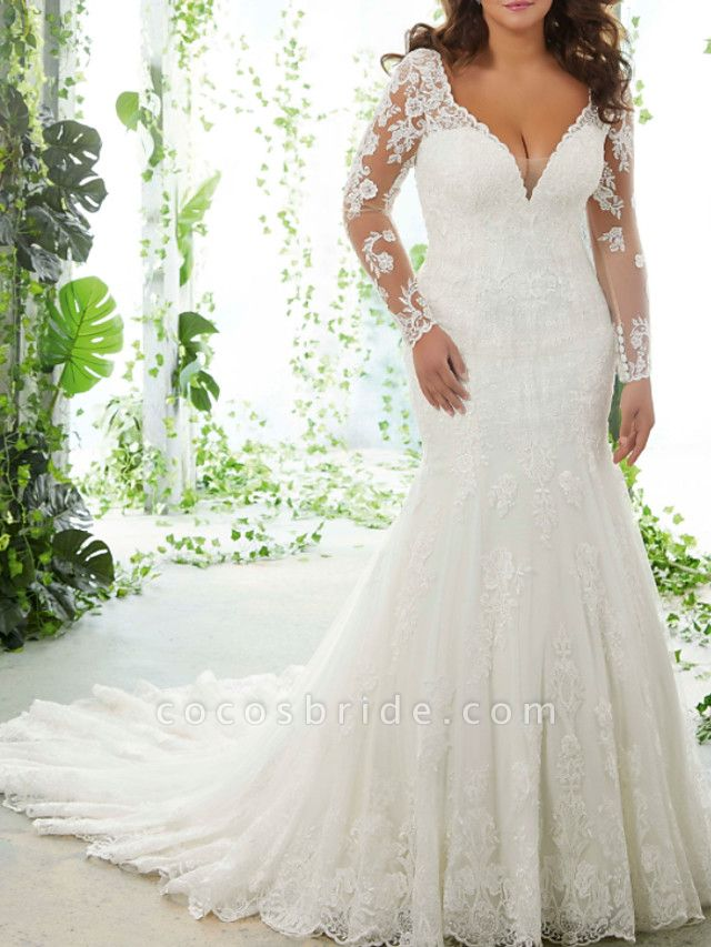 Mermaid \ Trumpet V Neck Court Train Lace Tulle Long Sleeve Formal Plus Size Wedding Dresses