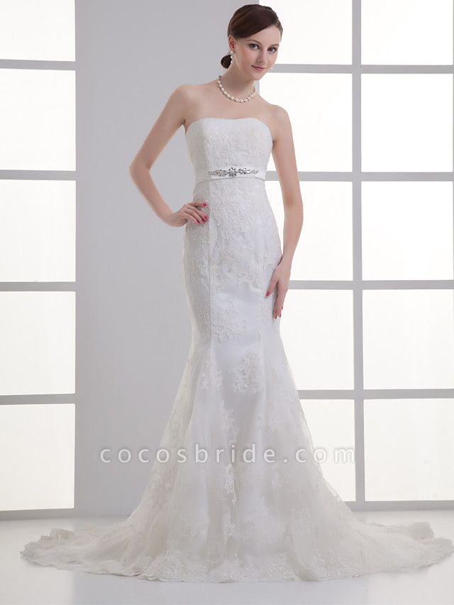 Mermaid \ Trumpet Wedding Dresses Strapless Court Train Lace Satin Strapless