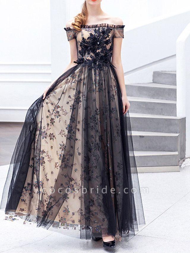 A-Line Wedding Dresses Off Shoulder Floor Length Lace Tulle Regular Straps Formal Black