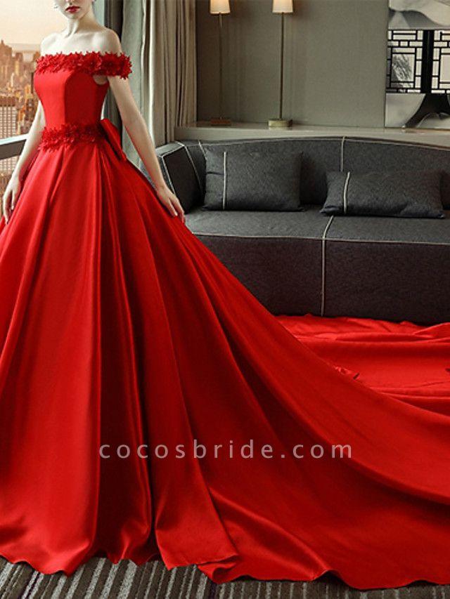 A-Line Wedding Dresses Off Shoulder Court Train Satin Short Sleeve Romantic Plus Size Red