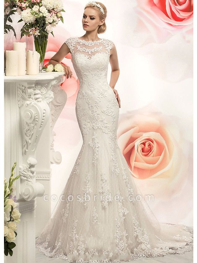 Mermaid \ Trumpet Wedding Dresses Jewel Neck Court Train Lace Tulle Cap Sleeve