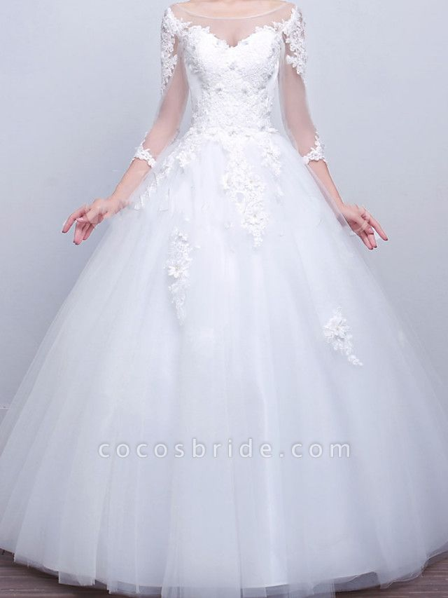Ball Gown Wedding Dresses V Neck Sweep \ Brush Train Lace Satin Tulle Long Sleeve Formal