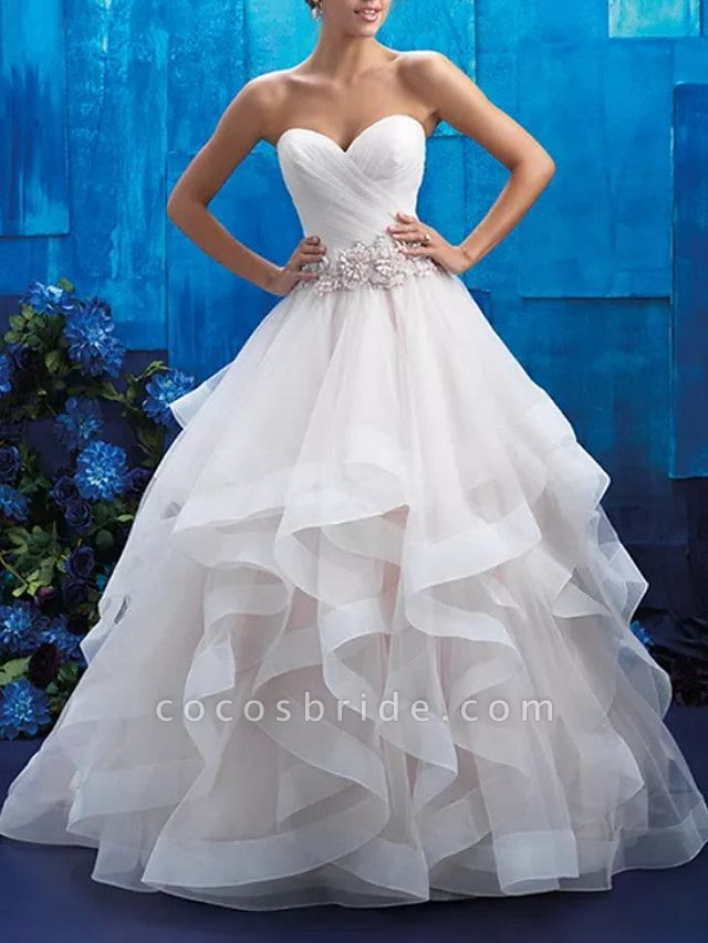 Ball Gown Strapless Sweep \ Brush Train Tulle Polyester Sleeveless Country Plus Size Wedding Dresses