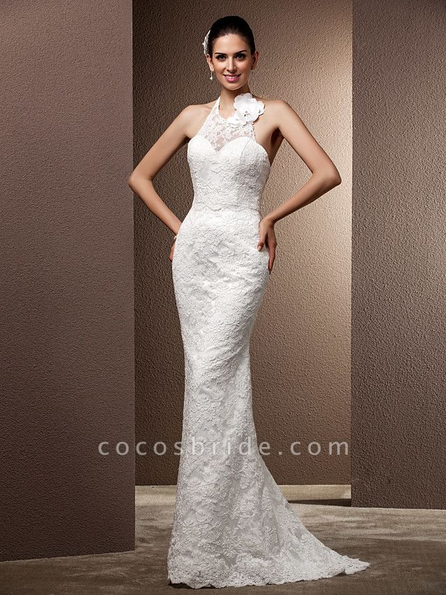 Mermaid \ Trumpet Wedding Dresses Halter Neck Sweep \ Brush Train Lace Regular Straps Open Back