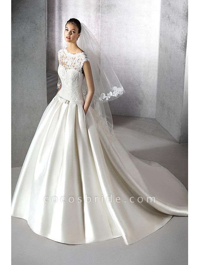 A-Line Jewel Neck Chapel Train Lace Tulle Polyester Cap Sleeve Plus Size Wedding Dresses