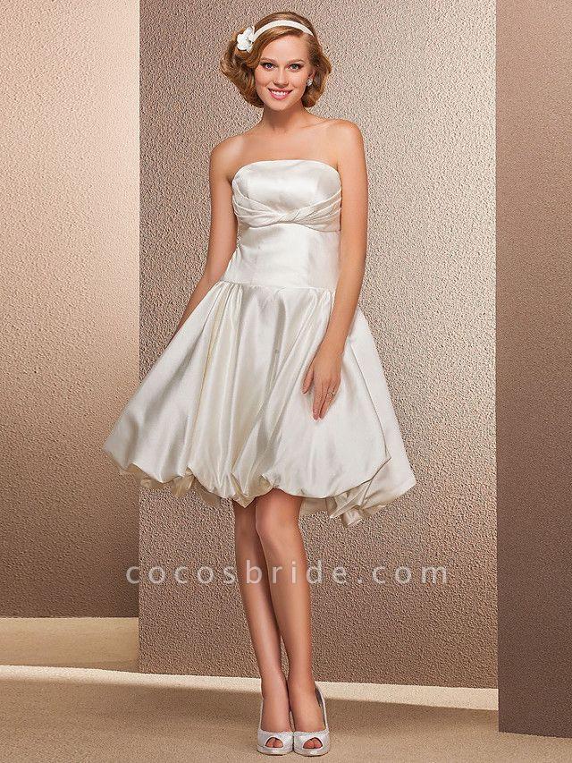 Ball Gown A-Line Wedding Dresses Strapless Knee Length Satin Sleeveless Little White Dress