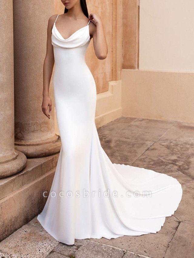 Mermaid \ Trumpet Wedding Dresses Spaghetti Strap Sweep \ Brush Train Stretch Satin Sleeveless Simple Backless