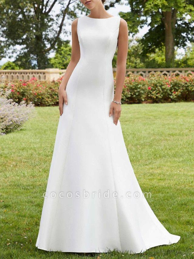 A-Line Wedding Dresses Jewel Neck Court Train Lace Satin Sleeveless Simple Sexy