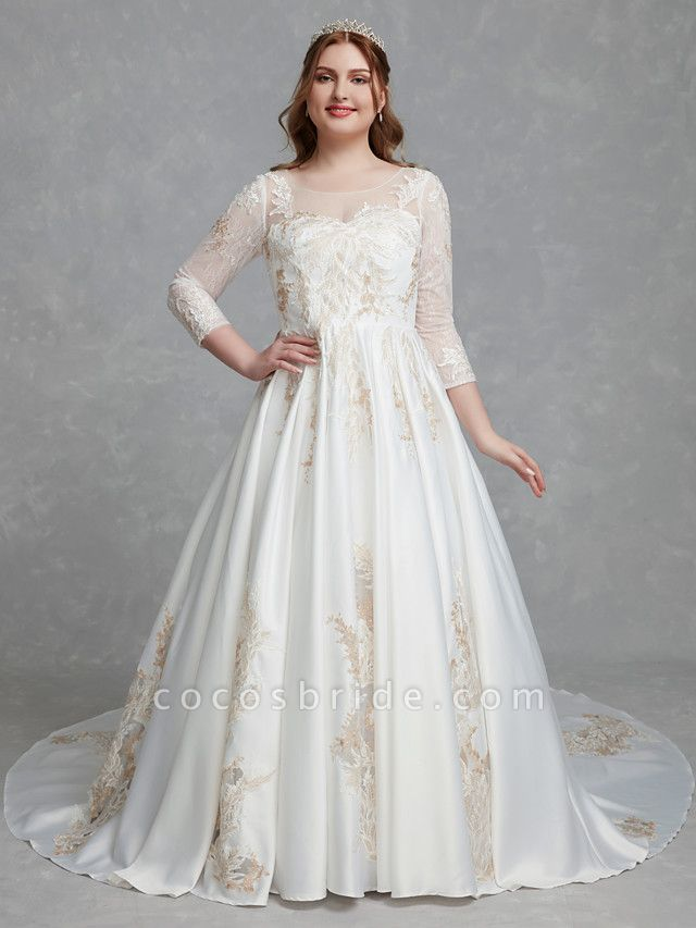 A-Line Wedding Dresses Scoop Neck Court Train Lace Satin Long Sleeve Romantic Glamorous See-Through Illusion Sleeve