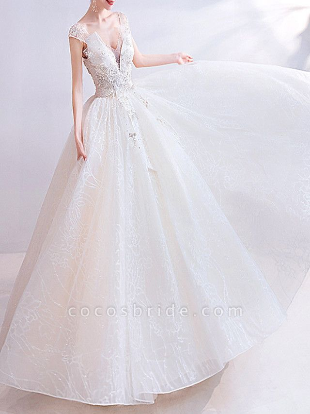 Ball Gown V Neck Floor Length Chiffon Tulle Short Sleeve Casual Illusion Detail Plus Size Wedding Dresses