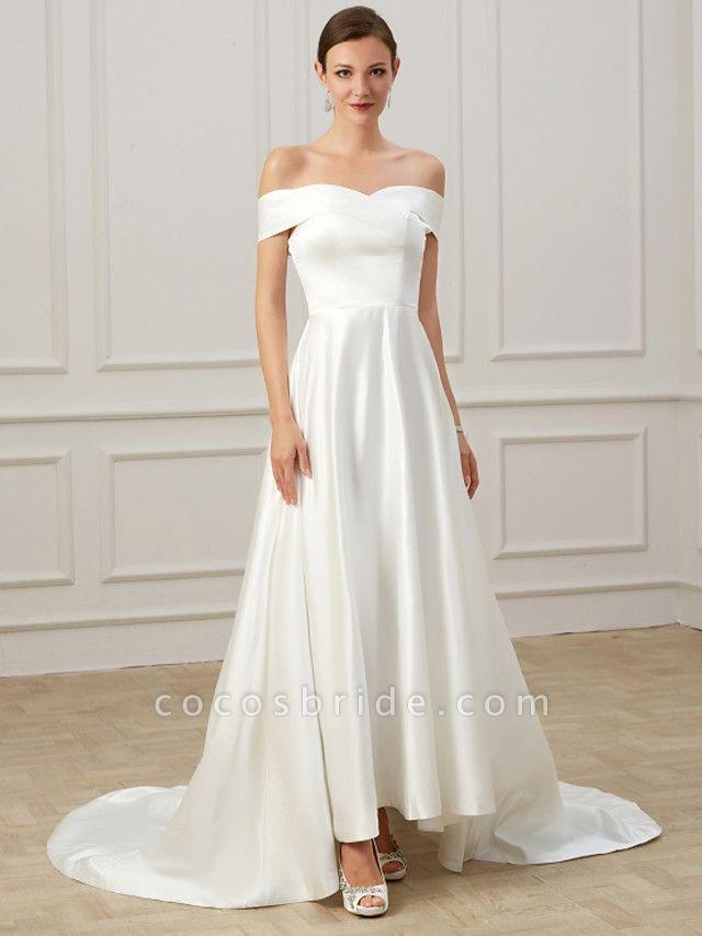 A-Line Wedding Dresses Off Shoulder Court Train Satin Short Sleeve Formal Vintage Plus Size
