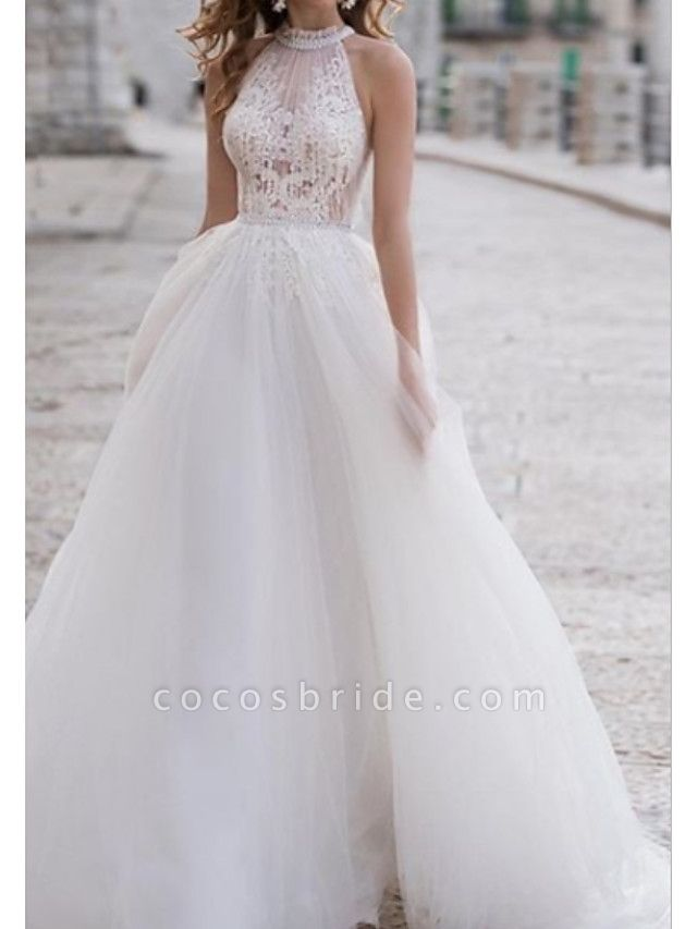 A-Line Wedding Dresses Halter Neck Asymmetrical Lace Tulle Regular Straps Boho