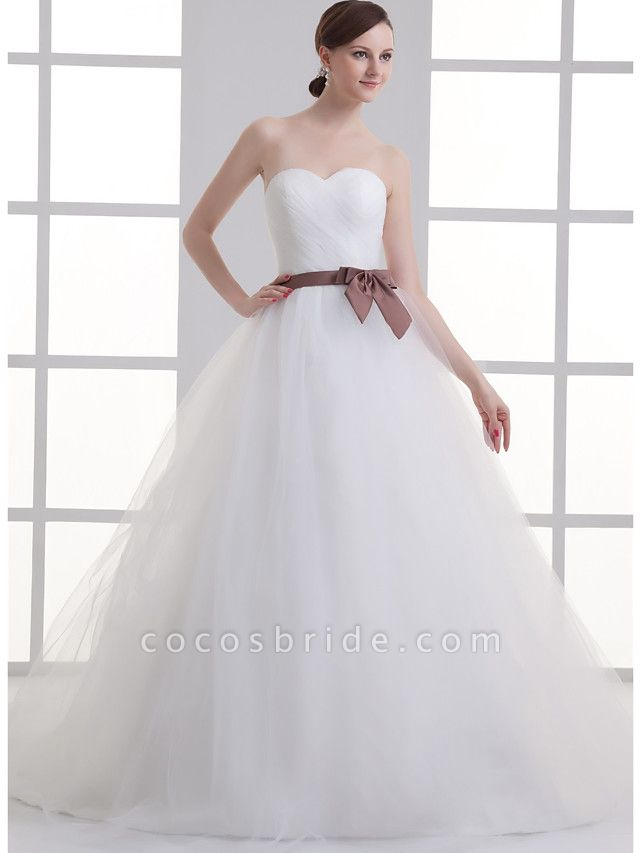 A-Line Wedding Dresses Sweetheart Neckline Court Train Lace Satin Tulle Strapless