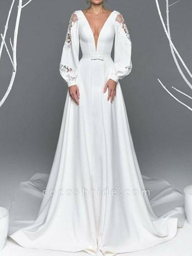 A-Line Wedding Dresses V Neck Court Train Satin Long Sleeve Simple Illusion Detail