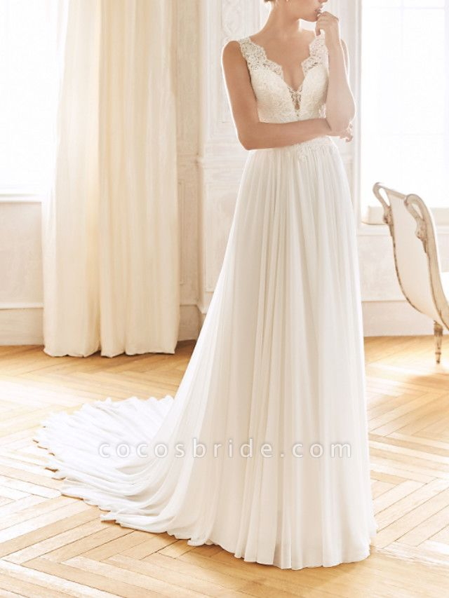 A-Line Wedding Dresses V Neck Sweep \ Brush Train Chiffon Lace Sleeveless Vintage Sexy Wedding Dress in Color See-Through Backless