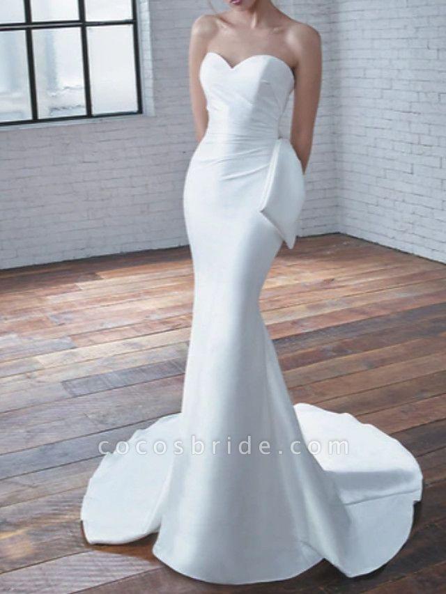 Mermaid \ Trumpet Wedding Dresses Sweetheart Neckline Court Train Stretch Satin Strapless Modern Elegant