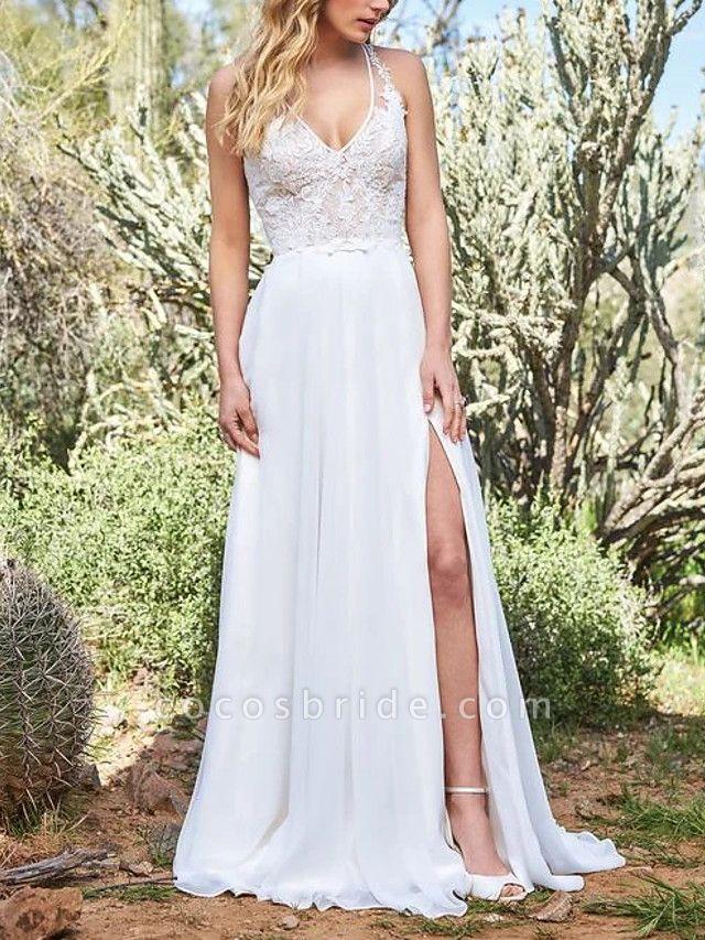 A-Line Wedding Dresses V Neck Sweep \ Brush Train Polyester Sleeveless Vintage Plus Size