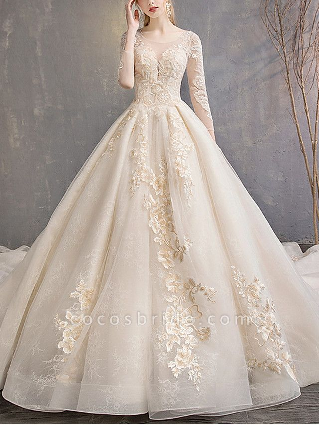 A-Line Wedding Dresses Jewel Neck Floor Length Lace Tulle 3\4 Length Sleeve Casual Plus Size Illusion Sleeve
