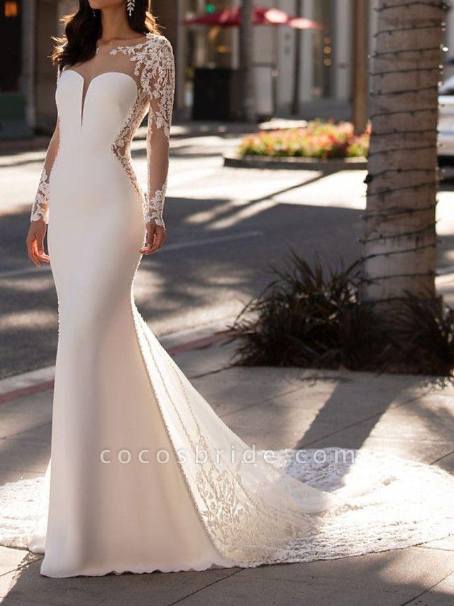 Mermaid \ Trumpet Jewel Neck Court Train Lace Stretch Satin Sleeveless Formal Illusion Sleeve Wedding Dresses