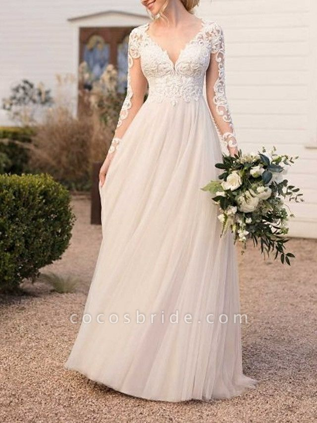 A-Line Wedding Dresses V Neck Floor Length Lace Tulle Long Sleeve Beach Boho See-Through Backless Illusion Sleeve
