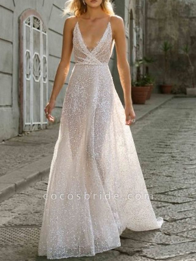 A-Line Wedding Dresses V Neck Sweep \ Brush Train Tulle Spaghetti Strap Boho Plus Size