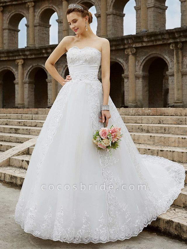 Ball Gown Wedding Dresses Strapless Sweep \ Brush Train Tulle Glitter Lace Strapless Country Sparkle & Shine Backless