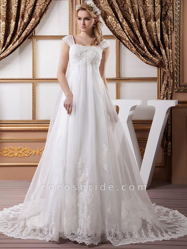A-Line Square Neck Court Train Lace Organza Satin Cap Sleeve Formal Vintage Illusion Detail Plus Size Wedding Dresses