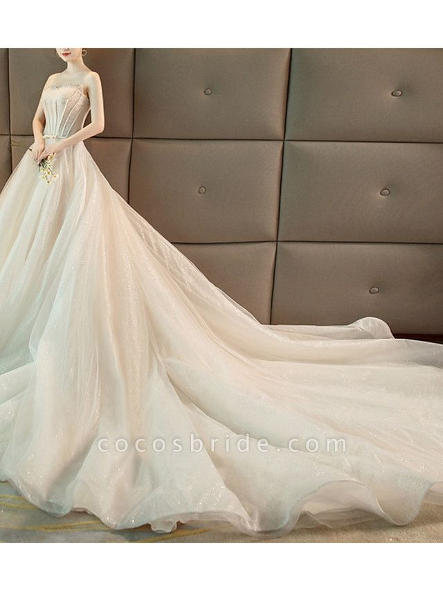 A-Line Strapless Chapel Train Polyester Strapless Wedding Dresses